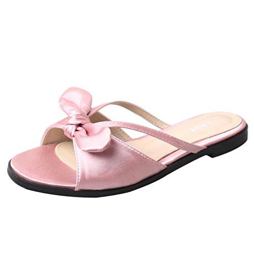 Winwintom Verano de mujer bowknot zapatos peep toe zapatos bajos de sandalias romanas señoras flip flops Rosa