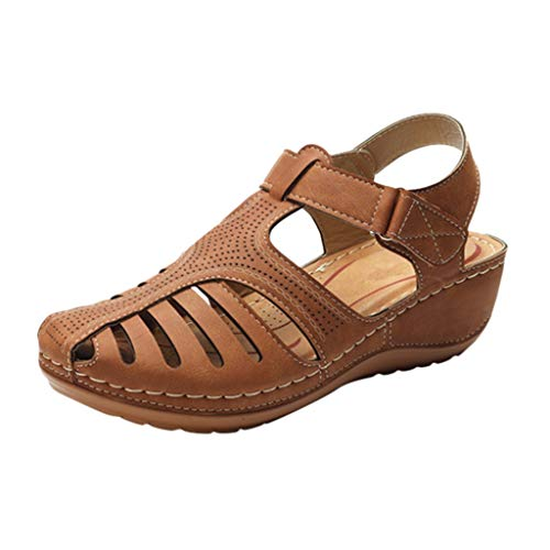 - Leather Sandals,ONLY TOP Women's Comfort Leather Loafers Shoes Hollow Out Hook Loop Sandals Closed Toe Flat Shoes Brown