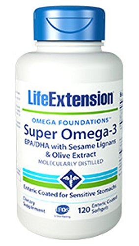 Super Omega-3 EPA/DHA with Sesame Lignans & Olive Extract 120 enteric Coated softgels-Pack-3 by Life Extension