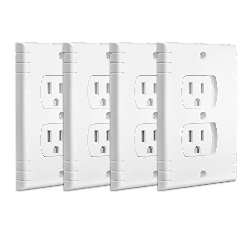 Baby Safety Self-Closing Wall Outlet Cover, Self-close Universal Electrical Outlet Cover, Childproof Wall Sliding Outlet Covers for Standard Style Outlet, White, 4 Pack