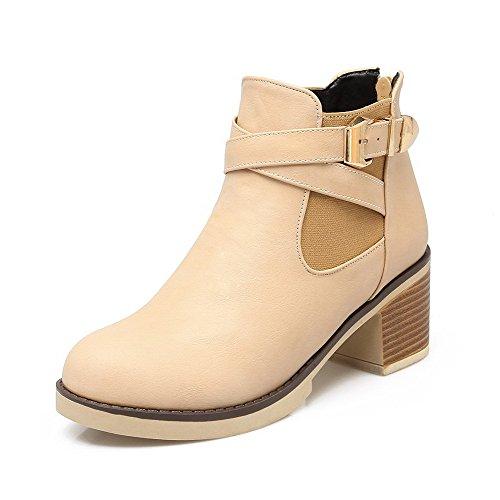 Kitten Heels Round AgooLar Toe PU Boots Solid Apricot Zipper Women's w1IqSf