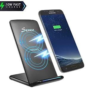 Seneo Qi Cargador Inalámbrico, Carga Inalámbrico Soporte, para iPhone XS/XR/XS Max/ X/8/8Plus,Samsung Galaxy S8,S8 Plus,Samsung Galaxy S7,S6+,