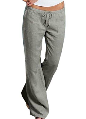 BYWX-Women Comfy Linen Casual Loose Elastic Waist Wide Leg Yoga Pants Grey US XL