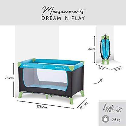 Hauck Kinderreisebett Dream N Play / inklusive Einlageboden und Tasche / 120 x 60cm / ab Geburt / tragbar und faltbar, Wasser (Blau) 2