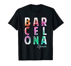 Barcelona, Spain - Souvenir Block Letter T-Shirt - Fun design for your trip, cruise, vacation or honeymoon