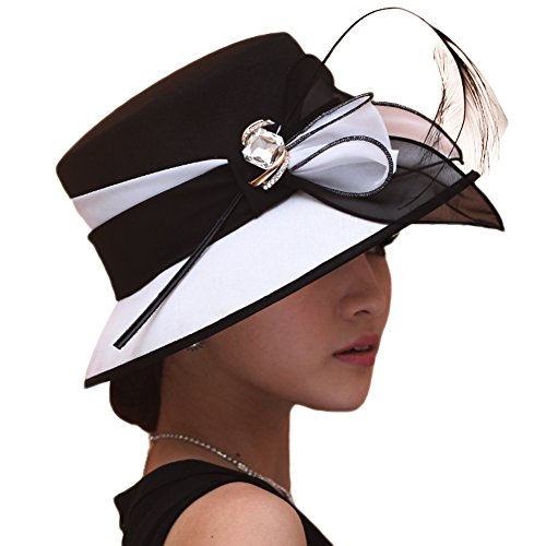 Young Lady Dress - June's Young Women Hat Formal Dress Hat Polyester Fabric Feather Two Tone Colors (Black/white)