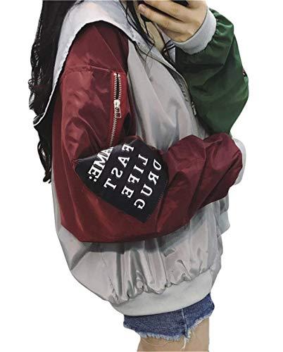 Giovane Colori Sciolto Primaverile Cappuccio Con Outerwear Casuali Giacca Cappotto Donna Cerniera Autunno Cucitura Lunga Yasminey Baseball Fashion Grau Giacche Eleganti Women Manica OPgzqnWw