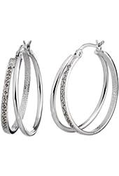 Vir Jewels Sterling Silver Diamond Hoop Earrings (1/10 CT)