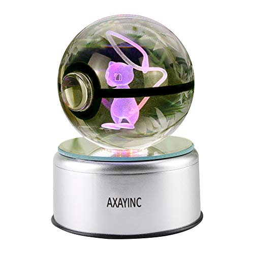 AXAYINC 3D Crystal Ball LED Lighting and Spinning Primary Base 7 Kinds of Discoloration Night Lights Advance Laser Engraving Children's Gift (Meng H 8) ()