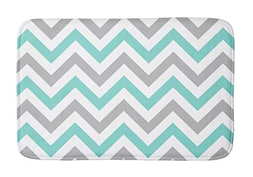 Aomsnet Aqua Turquoise Gray wht lg Chevron Zigzag Bathroom Decor Mat, Shower Rug Mat Water Absorbent Fast Drying Kitchen, Bedroom, Hotel, Spa Tub. 30