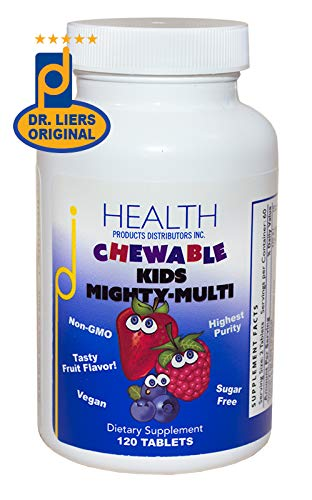 KIDS MIGHTY-MULTI (120 Tablets) – Chewable Multivitamin – Purest Non-GMO Ingredients, No Sugar or Artificial Ingredients – Naturally Sweetened with Xylitol & Stevia Leaf Extract – Suitable for Adults
