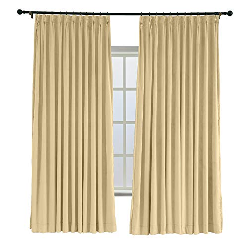 ChadMade Pinch Pleated 100W x 96L Blackout Lined Velvet Curtain Drapery Panel for Traverse Rod or Track, Living Room Bedroom Meetingroom Club Theater Patio Door (1 Panel), Cream