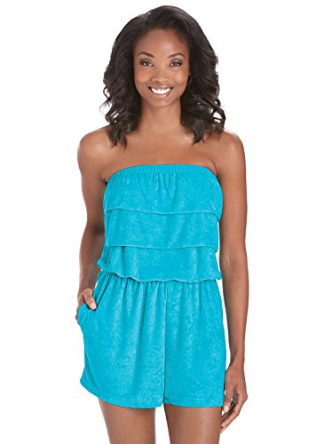Terry Cloth Romper | Strapless Terry Cloth Romper, Color Turquoise, Size Extra Large (1X), Turquoise, Size Extra Large (1X)