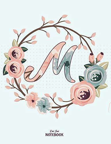 - Dot Grid Notebook: Floral Letter M 8.5x11