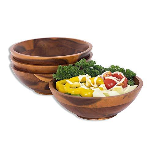wood salad bowl set of 4 - 3