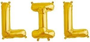 WULEEUPER Lil Balloons 16'' Lil Letter Balloons Banner Sorority Sister Little Balloons Big Little Reveal Day Props (Gold)