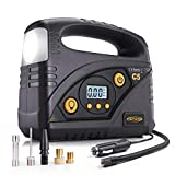 Tire Inflator, AUTLEAD Super Powerful Digital Auto Air Compressor, Portable 120 PSI 12V DC Air Pump LED Light, 4 Adaptors and Fuse for Car, Bicycle, Motorbike, and Other Inflatables   C5