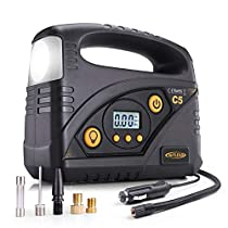 Air Compressor, AUTLEAD Super Powerful Digital Auto Tire Inflator, Portable 120 PSI 12V DC Air Pump LED Light, 4 Adaptors and Fuse for Car, Bicycle, Motorbike, and Other Inflatables | C5