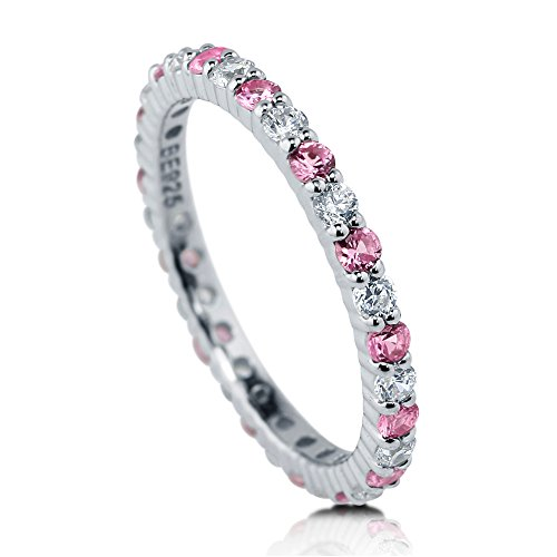 BERRICLE Rhodium Plated Sterling Silver Pink Cubic Zirconia CZ Stackable Anniversary Fashion Right Hand Eternity Band Ring Size 7