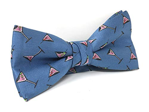Urban-Peacock Men's Banded Bow Tie with Gift Box (Martini Glass - Blue)