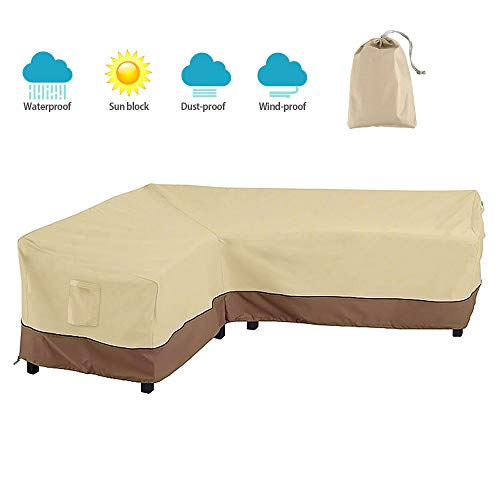 BullStar Patio Sectional Furniture Cover Waterproof Outdoor Sofa Cover L-Shaped Garden Couch Protector, Left Facing