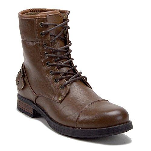 Nieuwe Heren Monroe-03 Warme Fleece Gevoerde Winter Lace Up Militaire Stijl Combat Lange Laarzen Bruin