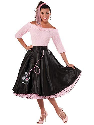 Forum Novelties Women's 50's Poodle Skirt Black, Black, Standard -