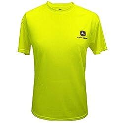 John Deere HI VIZ Yellow Logo Poly T-Shirt-large