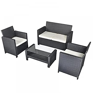New 4 PCS Cushioned Outdoor Wicker Patio Set Garden Lawn Rattan Sofa Furniture