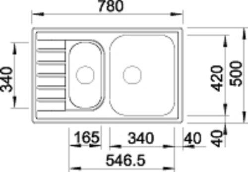BLANCO LIVIT 6 S COMPACT Acero inoxidable, 2 senos, 340 x 420 mm, 15,5 cm, 165 x 340 mm, 13 cm Fregadero