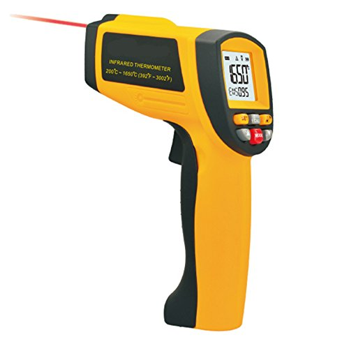 Infrared Thermometer, Lifenergy Handheld Gun-shape Industrial Non-contact Laser IR Thermometer Temperature Range 200 ~ 1650℃ ( 392~3002℉) by Lifenergy