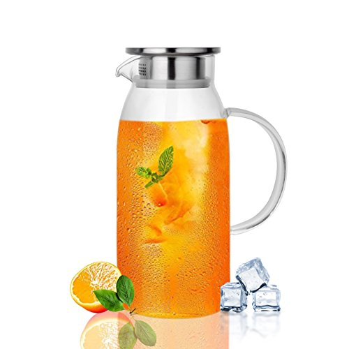 Borosilicate 60 oz Glass Pitcher with Lid by Dore We New York - Includes 20 Recipe e-Book - High Heat Resistant Glass Pitcher For Hot & Cold Drinks - Stove-Top Safe - Stainless Steel Lid & Strainer