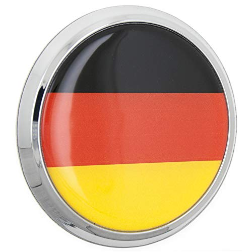 Fan Emblems German Flag 3D Car Emblem Domed/Multicolor/Chrome, Automotive Sticker Decal Badge Flexes to Fully Adhere to Cars, Trucks, Motorcycles, Laptops, Windows, Almost Anything