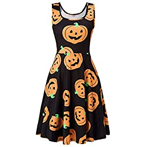 Fanient Womens Xmas Sleeveless Costume Scoop Neck Christmas Dress 3D Ugly Print Sleeveless A Line Midi Flared Tank Dresses