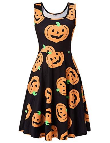 Fanient Womens Xmas Sleeveless Costume Scoop Neck Christmas Dress 3D Ugly Print Sleeveless A Line Midi Flared Tank Dresses
