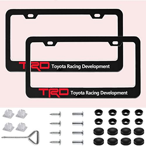 (Sparkle-um 2 Pack Newest TRD Logo Matte Aluminum Alloy License Plate Frame,with Screw Caps Cover Set Suit,Applicable to US Standard car License Frame, for Toyato TRD.)