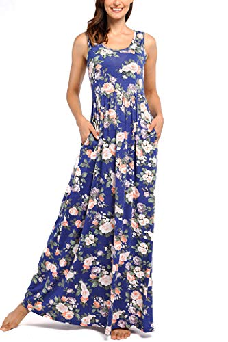 Comila Long Dresses with Pockets for Women, Fashion Petite Empire Waist Slimming Tank Maxi Dress Boho Beach Vacation Loose Fit A Line Swing Dress Navy Blue L (US 12-14)