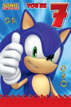 Sonic The Erizo edad 7 Cumpleaños Tarjetas: Amazon.es ...