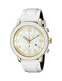Citizen AT2232-08A Eco-Drive Unisex Drive White Stainless Steel White/Gold Dial Chronograph Watch