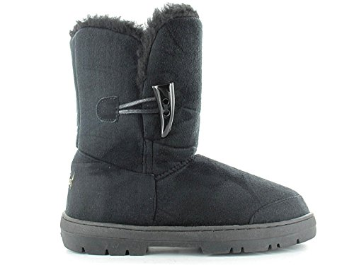 Flat Ankle Black Faux Boots 3 Ladies 8 Size Winter Fur Ella Toggle Lined Sophie Suede Warm Trim 1zxFPa