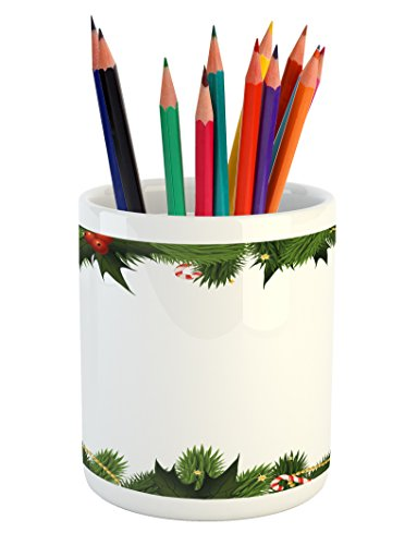 Ambesonne New Year Pencil Pen Holder, Frame Style Garland Pa