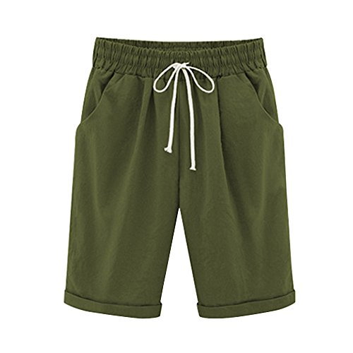 Gooket Women's Casual Elastic Waist Knee-Length Curling Bermuda Shorts Army Green Tag 4XL-US 12 ()