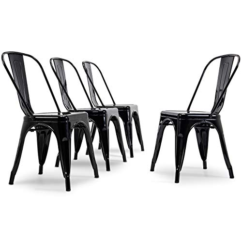 Belleze 014-HG-14085-BK Set of (4) Vintage Style Dining Side Chairs Steel High Back 4 Pack Black