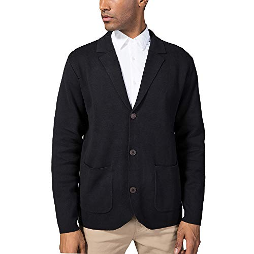 Kallspin Men's Relaxed Fit Cotton Blend Cardigan Sweater Casual Shawl Collar Knitwear with Buttons & Pockets (Black, XL)