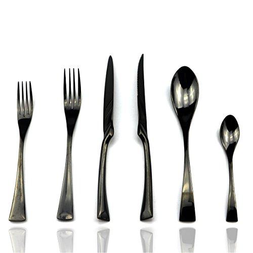 JASHII 18/10 Stainless Steel 24 Piece Mirror Polished Black Flatware Set,Dinner Knife Steak Knife Salad Fork Dessert…