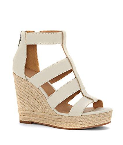 Wedge Flat Heel Sandal (Fashare Womens Peep Toe Platform Wedge Sandals Espadrilles Heels with Back Zip)