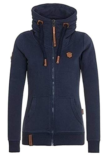- Generic Womens Fashion Patchwork Contrast Color Warm Hooded Sweatshirt Dart Blue XL