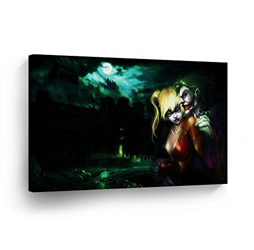 Harley Quinn and Joker Canvas Print Decorative Art Modern Wall Décor Artwork Vertical %100 Handmade in the USA- JHH23_2436 by Smile Art Design