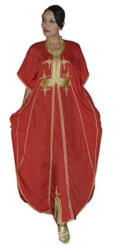 Moroccan Caftan Hand Made Breathable Cotton with Gold Hand Embroidery Long Lenght Red Wear Caftan
