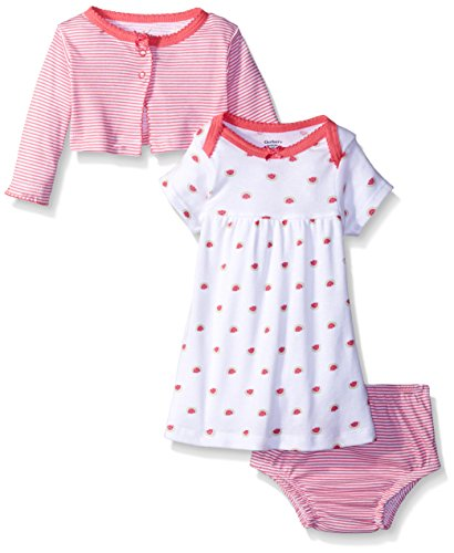 3 Piece Diaper Set (Gerber Baby Three-Piece Cardigan, Dress and Diaper Cover Set, Watermelon, 24 Months)